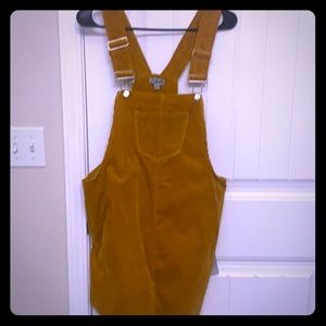 Cute burnt orange, corduroy, overall dress